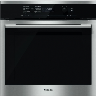 MIELE H6160B ContourLine Clean Steel | Single Built In Electric Oven